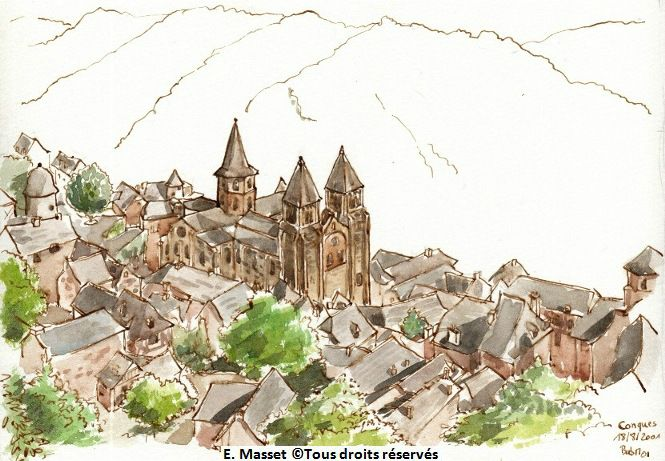 Le village historique de Conques.  Août 2001. Collection privée