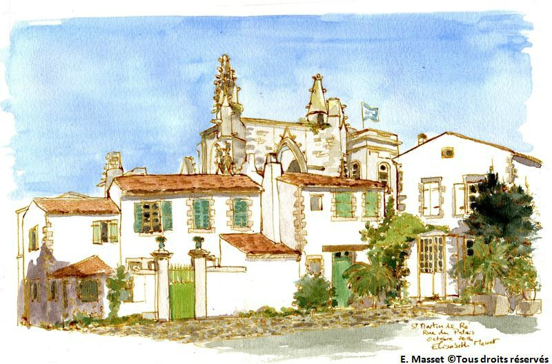 Ile de Ré, Saint Martin de RéRue du Palais. Encre et aquarelle. Octobre 2014. Collection B.B